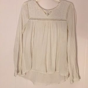Long sleeve peasant blouse with floral details